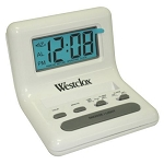 Westclox LCD White Travel Bedside Alarm Clock
