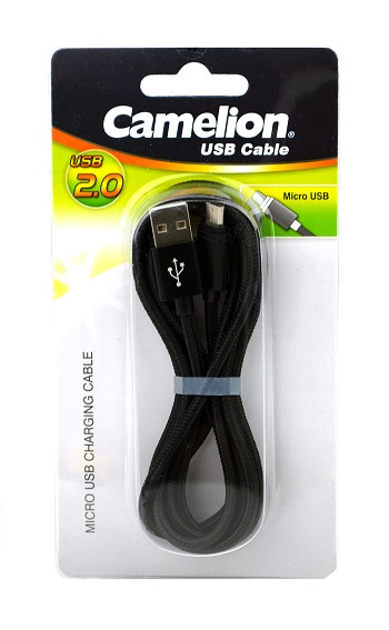 Nylon 6 Foot Black Micro USB Charging Cord Blister Pack