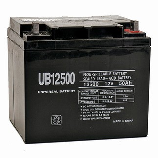Universal Power 12 Volt 50.00 Amp AGM Sealed Lead Acid with Internal Thread