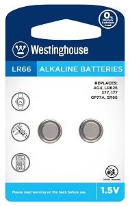 westinghouse, AG4, 377, LR626, button cell battery Westinghouse AG4 / 377 / LR626 1.5V Button Cell Battery
